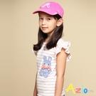 Azio 女童 上衣 格紋兔子貼布立體蝴蝶結橫條紋荷葉短袖上衣(粉) Azio Kids 美國派 童裝