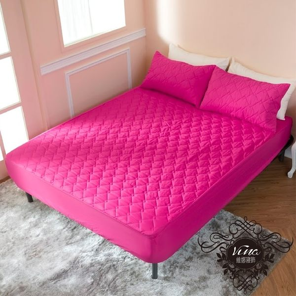 ↘ 單人床包+枕套1件 ↘ MIT台灣精製  透氣防潑水技術處理床包式保潔墊(桃紅色)