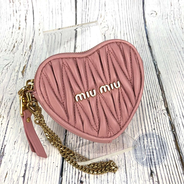 BRAND楓月 MIU MIU 5TL358 粉色愛心零錢包 錢包 皮夾 錢夾 小錢包 小羊皮 抓皺 拉鍊 金屬鍊帶