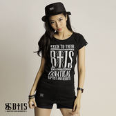 【BTIS】BTIS Slogan文字 長版T-shirt  / 黑色