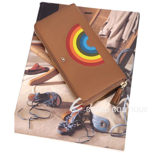 Anya Hindmarch Rainbow 彩虹皮革流蘇拉鍊長夾(棕色) 1620972-B3