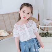 曉希女童襯衫夏裝2019新款白色韓版純棉上衣兒童洋氣寶寶短袖襯衣 漾美眉韓衣