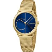 Calvin Klein CK Minimal 經典大LOGO手錶-藍x金/35mm K3M5255N