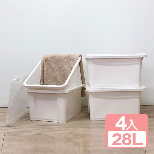特惠-《真心良品x樹德》石川雪白置物箱28L (4入)