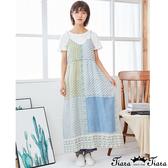 【Tiara Tiara】百貨同步新品ss 撞色印花細肩帶v領洋裝(藍/紅)