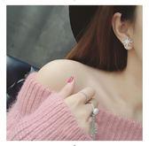 雙面珍珠耳釘女學生純銀簡約防過敏雪花耳環網紅耳飾 東京衣櫃