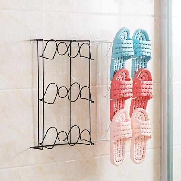 鐵藝壁掛式鞋架家用多層省空間收納鞋架子浴室掛墻鞋子拖鞋收納架jy 快速出貨全館免運