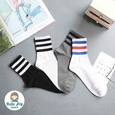 【正韓直送】韓國襪子 個性三條紋加大男性中筒襪 男襪 長襪 條紋襪 禮物 型男必備 哈囉喬伊 M5