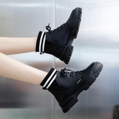 襪靴 黑色馬丁靴女英倫風厚底加絨短靴新款秋冬季帥氣網紅瘦瘦襪靴【【八折搶購】】