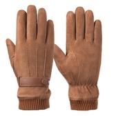 現貨 麂皮絨手套保暖騎車加絨騎行防風防寒觸屏手套