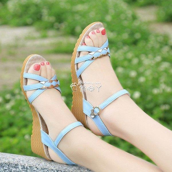 現貨出清涼鞋女夏新款坡跟女鞋牛筋底露趾中跟厚底平底舒適防滑鞋8-31
