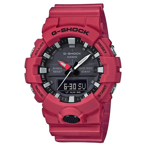 【僾瑪精品】CASIO卡西歐 G-SHOCK 大按鈕休閒運動腕錶-紅/GA-800-4A