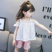 清新滿版小草莓一字領短褲套裝 一字領 短袖上衣 短褲 童裝