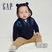 Gap嬰兒 碳素軟磨系列 Logo法式圈織熊耳連帽外套 682870-海軍藍