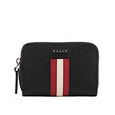 【BALLY】Tivy 防刮皮革紅白條紋卡夾/零錢包(黑色) 6221823 10