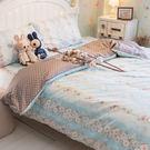 藍色玫瑰與蕾絲 D3 雙人床包雙人新式兩...