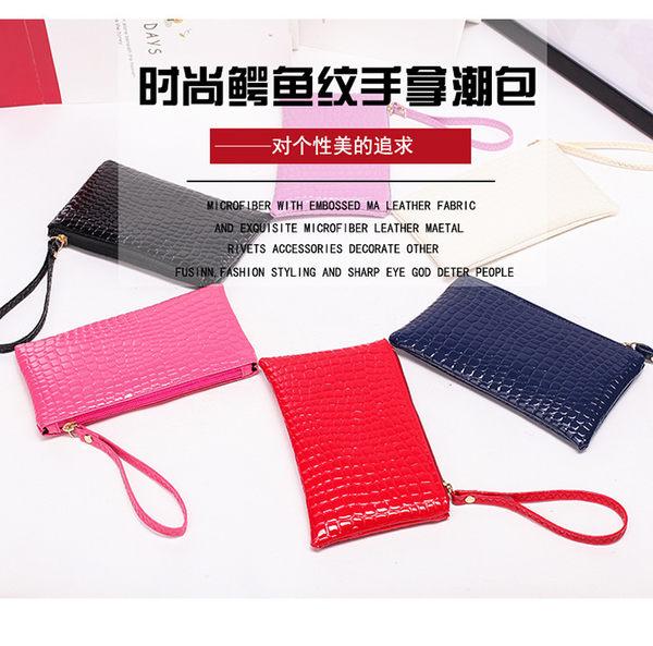 【現貨】韓國新款手拿包 小包 手機包 韓版長款鱷魚紋 手挽包 小方包 零錢包(E047)