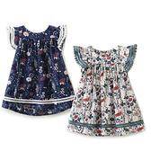 透氣棉紗小飛袖印花蕾絲洋裝 連身裙 連衣裙 橘魔法 Baby magic 現貨 童裝 女童