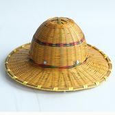 安全帽 大沿竹編安全帽 輕便透氣 竹制遮陽帽 工地施工勞保帽子igo   蜜拉貝爾