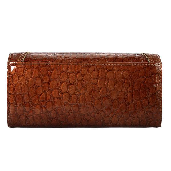 Crystal Ball蕾絲造型鱷魚紋長夾(棕色)162013-1