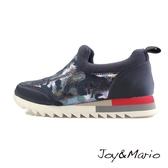 【Joy&Mario】炫麗迷彩花紋燙金布運動休閒鞋 - 75012W NAVY