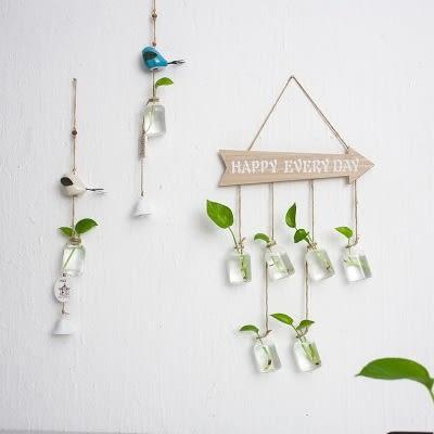 ins創意家居裝飾水培植物玻璃瓶懸掛壁掛小花瓶 黛尼时尚精品