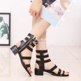 時尚韓版涼靴鏤空拉鏈夾腳復古平底羅馬涼鞋女鞋子『伊莎公主』
