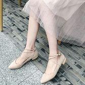 低跟鞋女2018簡約韓版百搭低跟單鞋女尖頭平底鞋綁帶鞋女 法布蕾輕時尚