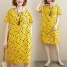 中大尺碼洋裝 2021春夏新款文藝大碼寬鬆休閑顯瘦中長款印花短袖打底連身裙女裝