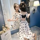 女童波點洋裝2021新款夏裝蛋糕裙中大童兒童洋氣吊帶公主裙裙子 幸福第一站