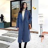 大衣 霧霾藍毛呢外套女中長款韓版2018新款潮秋冬季風呢子大衣