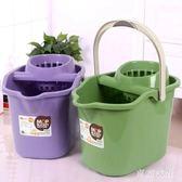 手壓帶滑輪加厚洗拖把桶擠水桶墩布清潔單桶拖把壓干桶家用大容量 QQ24753『東京衣社』