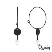 Quenby 極簡黑系無印風垂吊珍珠耳環/耳針