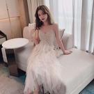 蛋糕裙洋裝 吊帶裙子女2020新款流行仙女裙小眾甜美網紗連衣裙超仙層層蛋糕裙