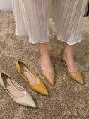 尖頭單鞋女秋款韓版百搭新款鞋子秋冬淺口細跟秋季高跟鞋聖誕交換禮物