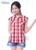 Victoria 格紋落肩短袖襯衫-女-紅白格紋-Y7500213