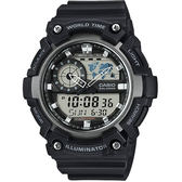 CASIO 卡西歐 世界時間地圖雙顯錶-黑 AEQ-200W-1AVDF / AEQ-200W-1A