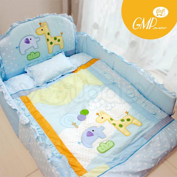 西川 GMP BABY 長頸鹿加厚七件棉被組-藍
