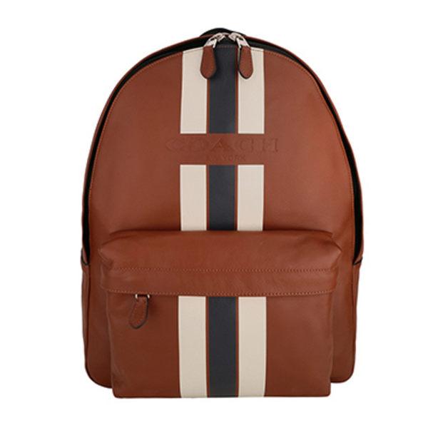 COACH F72237男款棕色彩條皮質雙肩背包棕色
