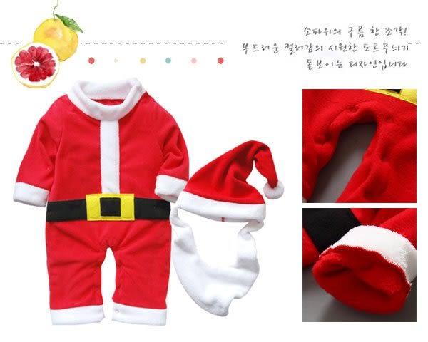 聖誕老人寶寶連身哈衣 爬行服 帽子 鬍子 套裝