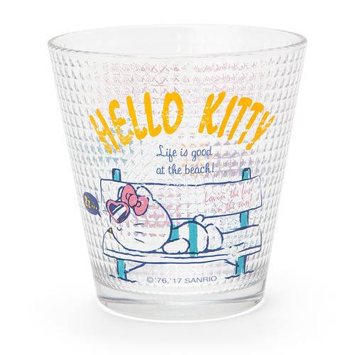《Sanrio》HELLO KITTY格紋玻璃杯(海灘生活)_088951N