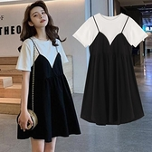 孕婦連身裙 短袖中長款 假兩件 寬鬆大碼純棉孕婦裙