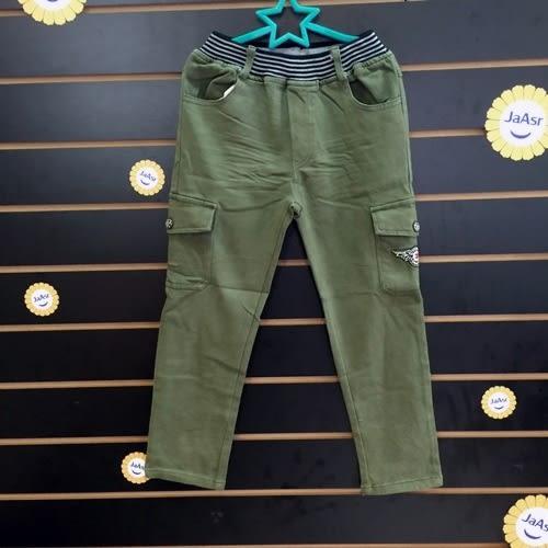 ☆棒棒糖童裝☆秋冬男大童鬆緊腰卡其綠左右大口袋平織長褲 120-170