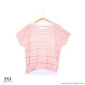 【INI】透氣涼感、條紋配色休閒品味假兩件上衣.粉色