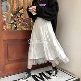 季韓版新款網紗拼接半身裙女學生寬鬆百搭超仙a字裙長裙ins 快速出貨