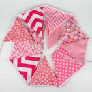 [韓風童品] 粉色花花格子三角旗掛飾 生日聚會裝飾旗 拍攝道具背景裝飾掛旗  棉布三角彩旗
