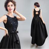 M-天使嫁衣嫵媚風情黑色蕾絲前短後長晚宴年會演出日常婚紗禮服106