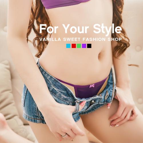 萊卡彩色馬卡龍側細繩內褲 輕夏季節 - 香草甜心 紫