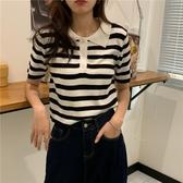 POLO衫夏季韓版2020新款POLO領條紋修身顯瘦網紅休閒打底短袖T恤上衣女 小天使