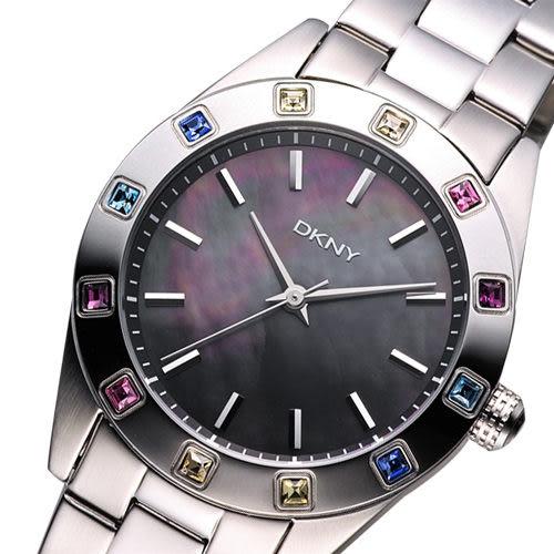 DKNY 黑珍珠貝彩色晶鑽腕錶/手錶 NY8718